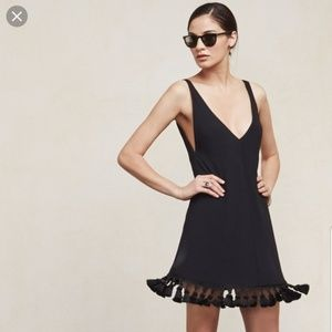 Reformation Black Tassle Taurus Dress XS